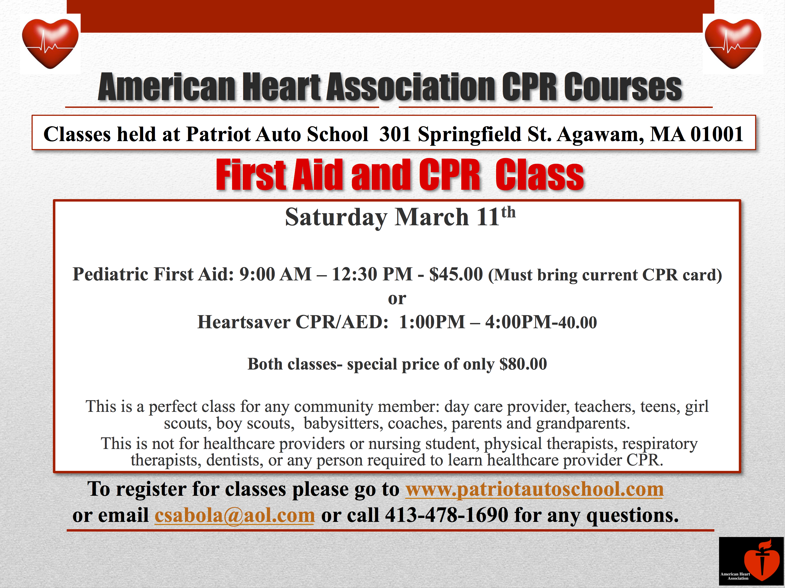 Class schedule patriot auto school heartsaver cpr and aed class xflitez Image collections